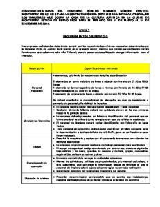 Anexo 1 REQUERIMIENTOS DEL SERVICIO