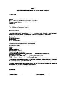 Anexo 1 SOLICITUD DE REDESCUENTO DE CONTRATO DE LEASING