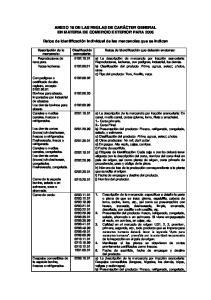 ANEXO 18 DE LAS REGLAS DE CARÁCTER GENERAL EN MATERIA DE COMERCIO EXTERIOR PARA 2006