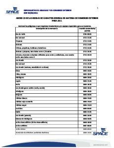 ANEXO 23 DE LAS REGLAS DE CARACTER GENERAL EN MATERIA DE COMERCIO EXTERIOR PARA 2011