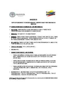 ANEXO 5 ESPECIFICACIONES TECNICAS OBRA DE CARPINTERIA Y VENTANERIA EN MADERA