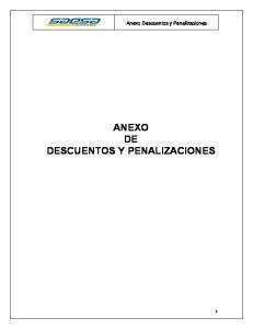 Anexo Descuentos y Penalizaciones ANEXO DE DESCUENTOS Y PENALIZACIONES