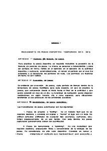 ANEXO I REGLAMENTO DE PESCA DEPORTIVA: TEMPORADA