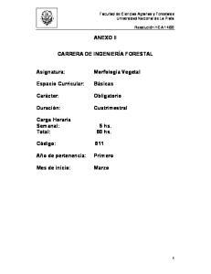 ANEXO II CARRERA DE INGENIERÍA FORESTAL