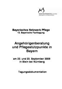 Angehörigenberatung und Pflegestützpunkte in Bayern