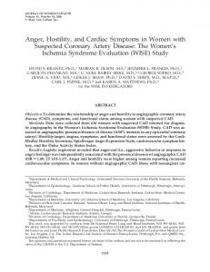 Anger, Hostility, and Cardiac Symptoms in Women with Suspected Coronary Artery Disease: The Women s Ischemia Syndrome Evaluation (WISE) Study