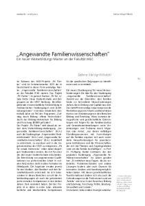 Angewandte Familienwissenschaften