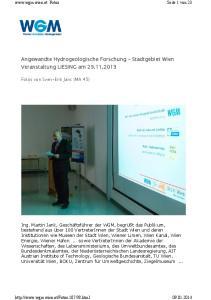 Angewandte Hydrogeologische Forschung Stadtgebiet Wien Veranstaltung LIESING am
