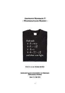 Angewandte Mathematik II Wissenschaftliches Rechnen