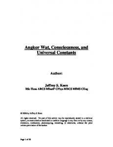 Angkor Wat, Consciousness, and Universal Constants