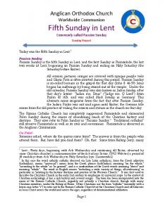 Anglican Orthodox Church Worldwide Communion Fifth Sunday in Lent