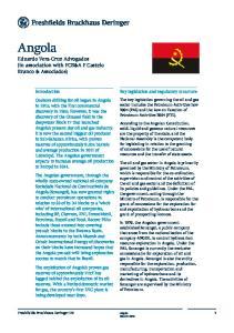 Angola. Eduardo Vera-Cruz Advogados (in association with FCB&A F Castelo Branco & Associados) Key legislation and regulatory structure