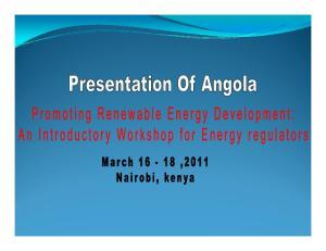 ANGOLA Promoting Renewable Energy Development