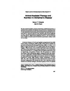 Animal-Assisted Therapy and Nutrition in Alzheimer s Disease 1