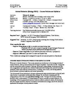 Animal Behavior (Biology 3015) :: Course Policies and Syllabus