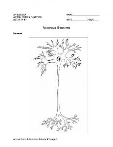 ANIMAL FORM & FUNCTION NERVOUS SYSTEMS NEURON. Animal Form & Function Activity #7 page 1