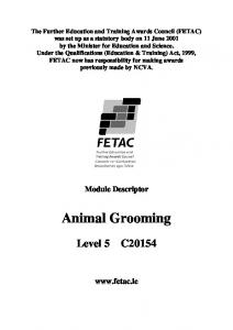 Animal Grooming. Module Descriptor