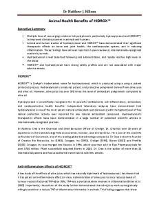 Animal Health Benefits of HIDROX