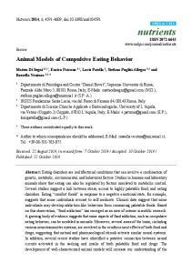 Animal Models of Compulsive Eating Behavior