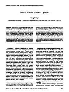 Animal Models of Focal Dystonia