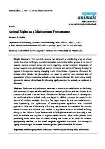 Animal Rights as a Mainstream Phenomenon