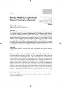 Animal Welfare and the Moral Value of Nonhuman Animals