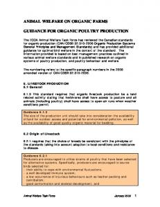 ANIMAL WELFARE ON ORGANIC FARMS GUIDANCE FOR ORGANIC POULTRY PRODUCTION