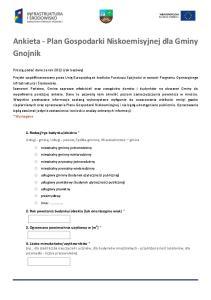 Ankieta - Plan Gospodarki Niskoemisyjnej dla Gminy Gnojnik