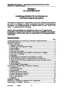 Anlage I zum Ausbildungshandbuch
