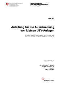 Anleitung für die Ausschreibung von kleinen USV-Anlagen