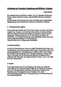 Anleitung zur formalen Gestaltung schriftlicher Arbeiten