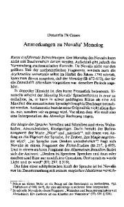 Anmerkungen zu Novalis' Monolog