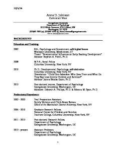 Anna D. Johnson Curriculum Vitae