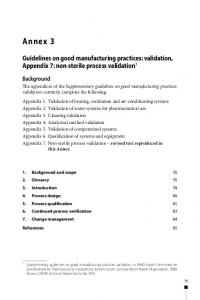 Annex 3. Guidelines on good manufacturing practices: validation, Appendix 7: non sterile process validation 1. Background