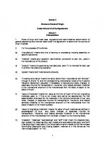 Annex 4. Annex on Rules of Origin. Under Article 19 of the Agreement. Article 1 Interpretation