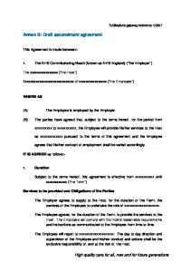 Annex B: Draft secondment agreement