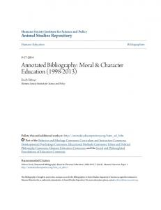 Annotated Bibliography: Moral & Character Education ( )