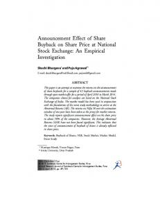 Announcement Effect of Share Buyback on Share Price at National Stock Exchange: An Empirical Investigation