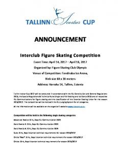 ANNOUNCEMENT. Interclub Figure Skating Competition