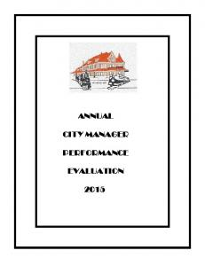 ANNUAL CITY MANAGER PERFORMANCE EVALUATION