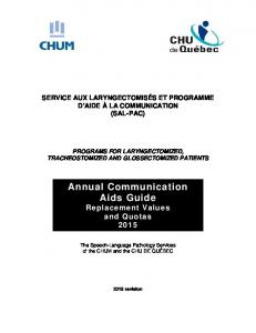 Annual Communication Aids Guide Replacement Values and Quotas 2015