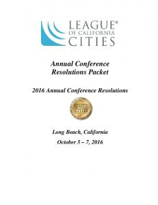 Annual Conference Resolutions Packet Annual Conference Resolutions