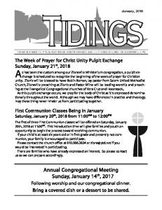 Annual Congregational Meeting Sunday, January 14 th, 2017