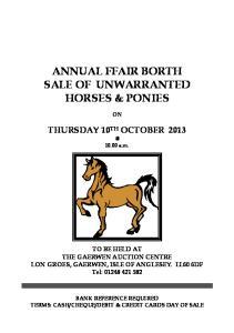 ANNUAL FFAIR BORTH SALE OF UNWARRANTED HORSES & PONIES
