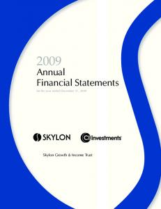Annual Financial Statements for the year ended December 31, 2009
