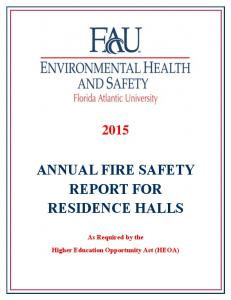 ANNUAL FIRE SAFETY REPORT FOR RESIDENCE HALLS
