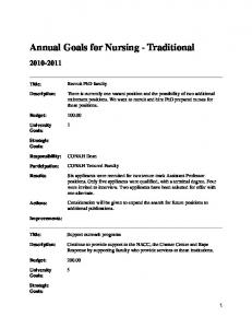 Annual Goals for Nursing - Traditional