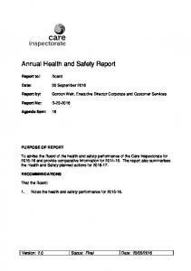 Annual Health and Safety Report