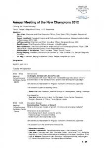 Annual Meeting of the New Champions 2012