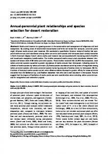 Annual-perennial plant relationships and species selection for desert restoration